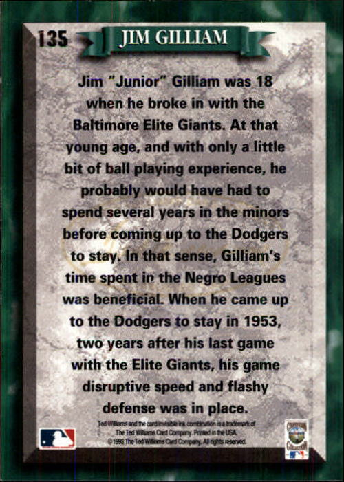 1993 Ted Williams #135 Jim Gilliam back image