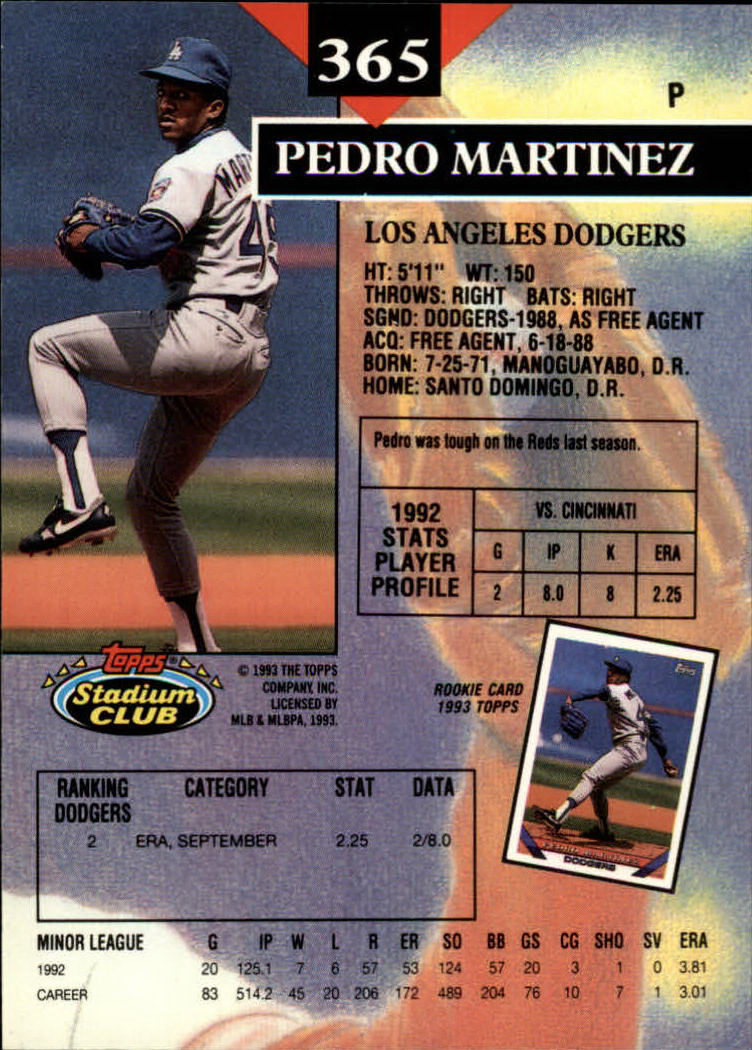 1993 Stadium Club #365 Pedro Martinez