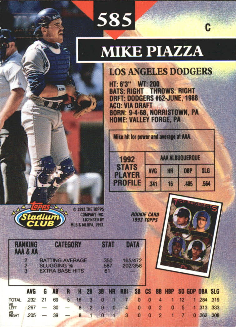 1993 Stadium Club First Day Issue #585 Mike Piazza back image