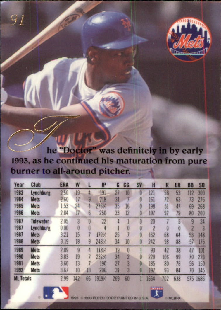 1993 Flair #91 Dwight Gooden back image