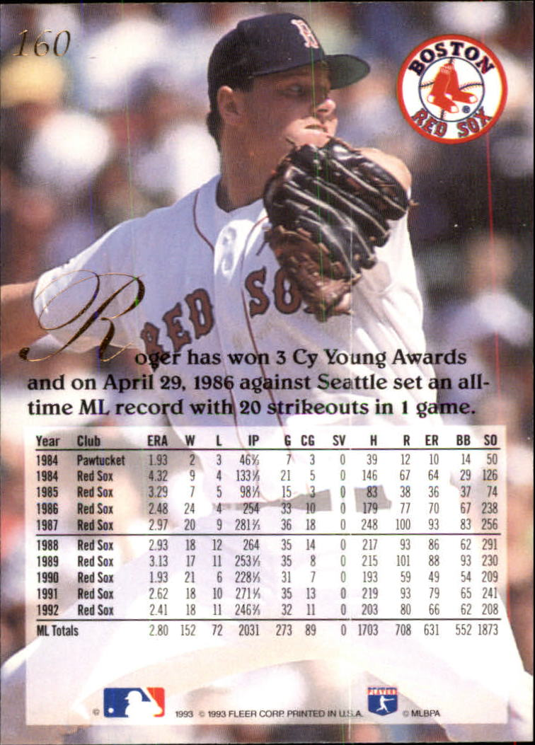 1993 Flair #160 Roger Clemens back image