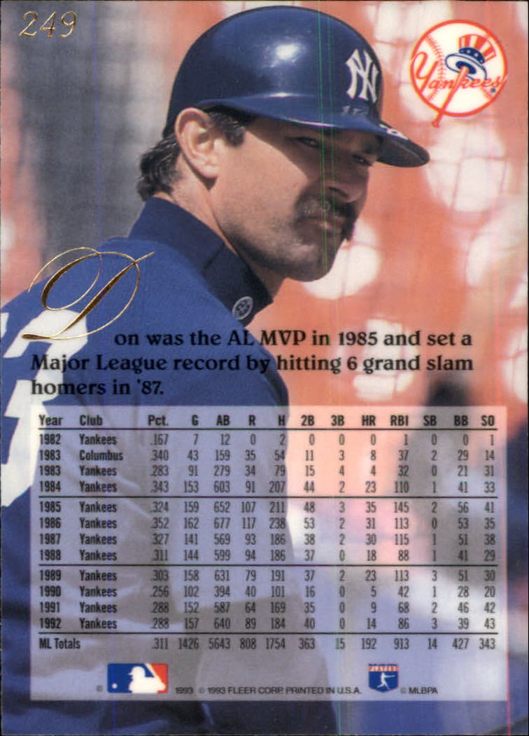 1993 Flair #249 Don Mattingly back image