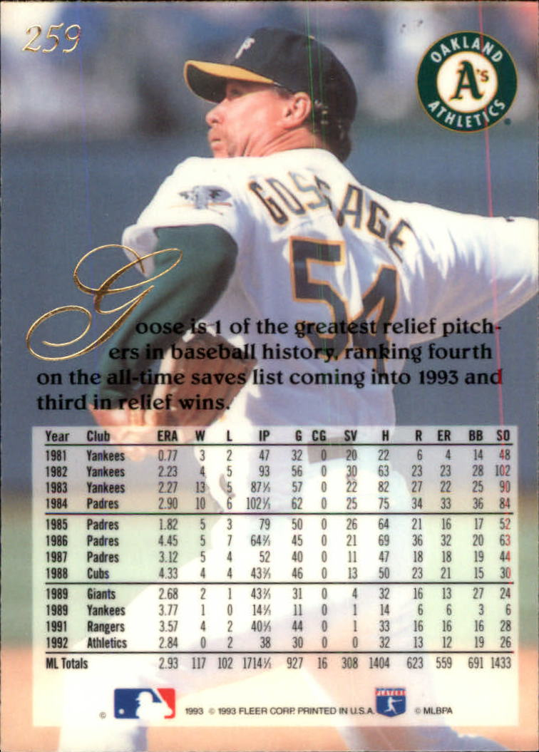 1993 Flair #259 Rich Gossage back image