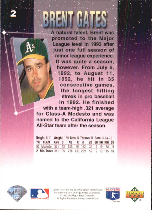 1993 Fun Pack #2 Brent Gates back image