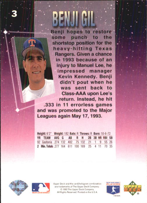 1993 Fun Pack #3 Benji Gil back image