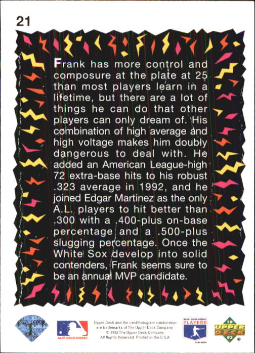 1993 Fun Pack #21 Frank Thomas HS back image