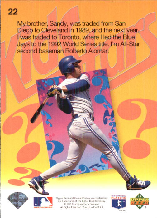 1993 Fun Pack #22 Roberto Alomar KS back image