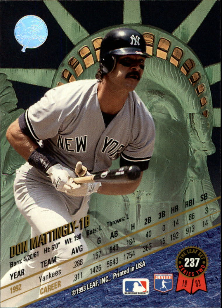 1993 Leaf #237 Don Mattingly back image