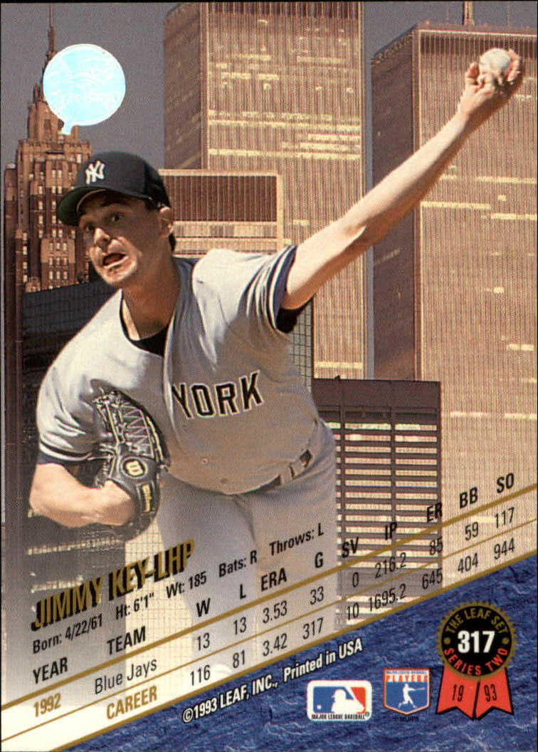1993 Leaf #317 Jimmy Key back image