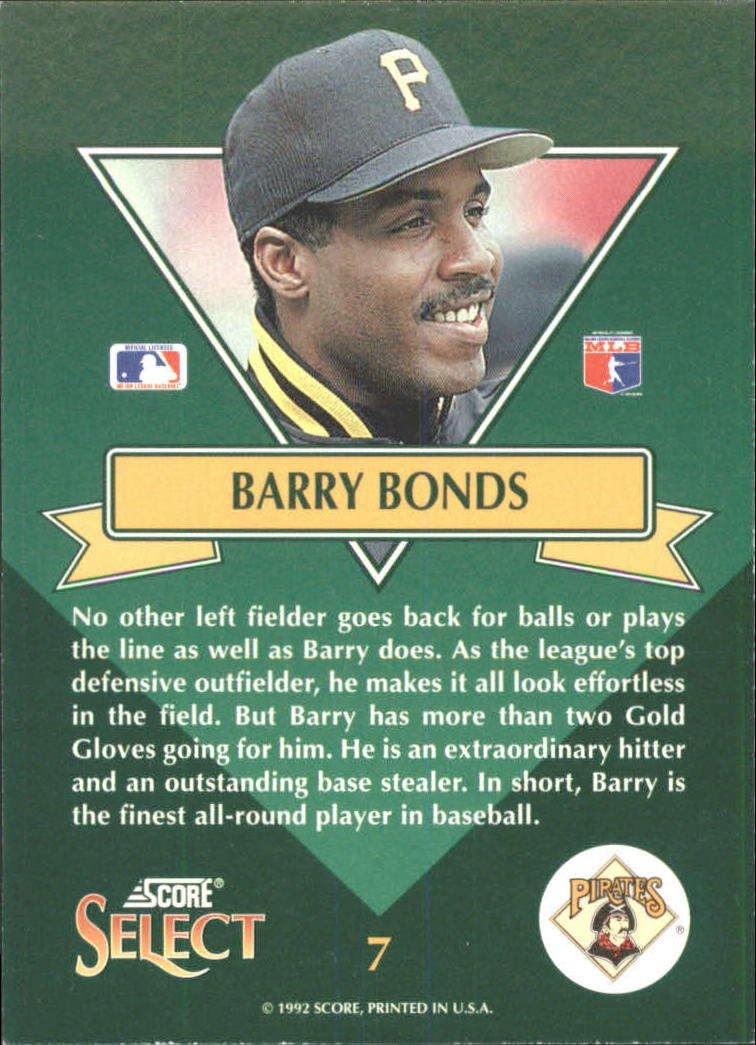 1993 Select Chase Stars #7 Barry Bonds back image