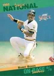 1993 Select Stat Leaders #52 Barry Bonds