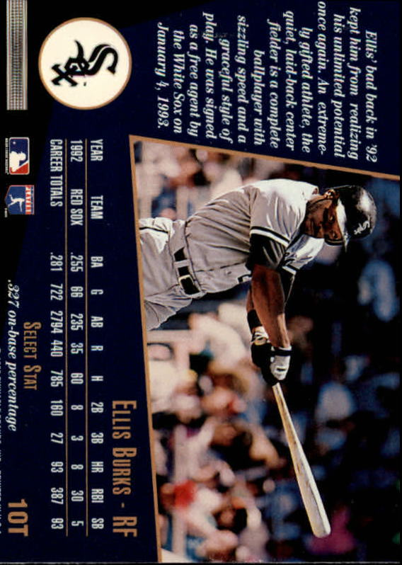 1993 Select Rookie/Traded #10T Ellis Burks back image