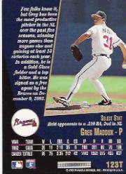 1993 Select Rookie/Traded #123T Greg Maddux back image