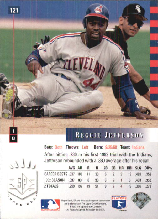 1993 SP #121 Reggie Jefferson back image