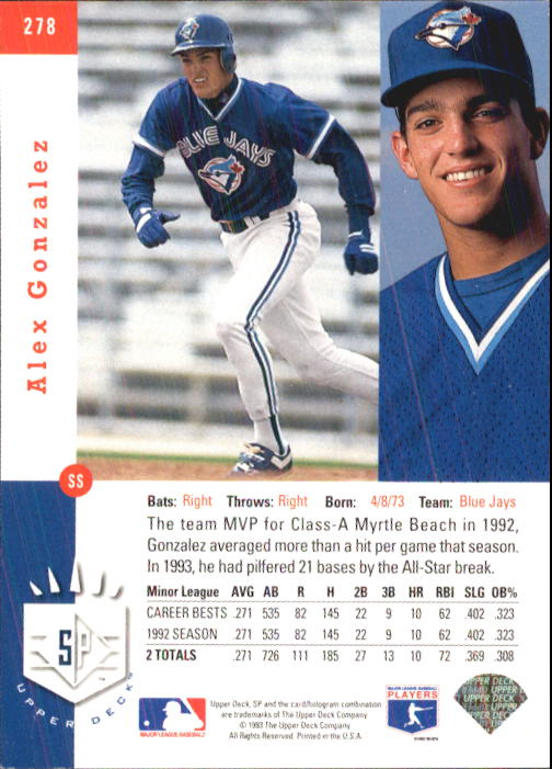 1993 SP #278 Alex Gonzalez FOIL