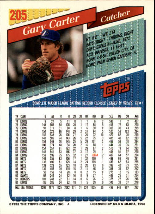 1993 Topps Gold #205 Gary Carter back image