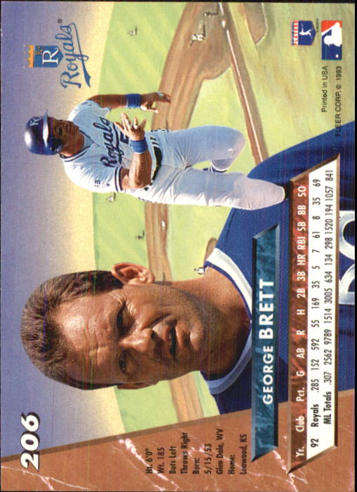 1993 Ultra #206 George Brett back image