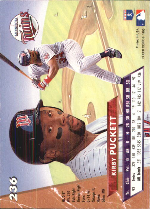1993 Ultra #236 Kirby Puckett back image