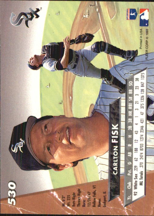1993 Ultra #530 Carlton Fisk back image