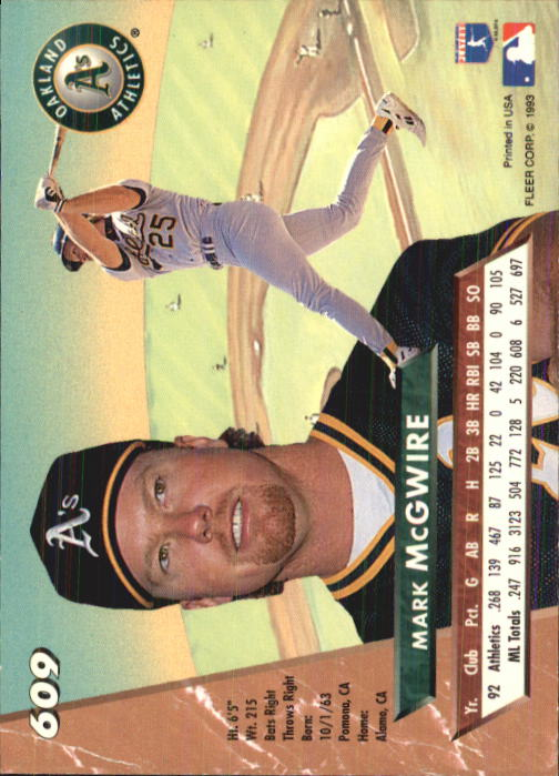1993 Ultra #609 Mark McGwire back image