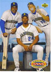 1993 Upper Deck Gold Hologram #55 Griffey/Buhner/Mitchell