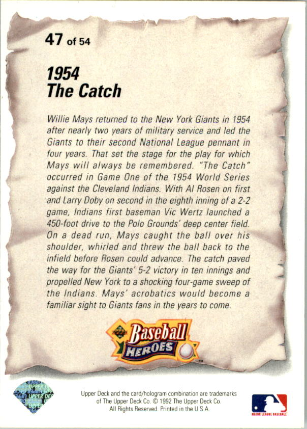1993 Upper Deck Mays Heroes #47 1954 The Catch back image