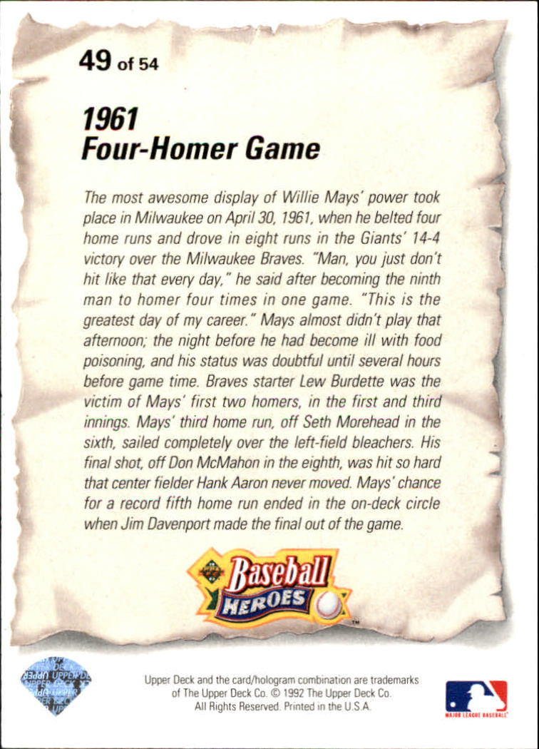 1993 Upper Deck Mays Heroes #49 1961 Four-Homer Game back image