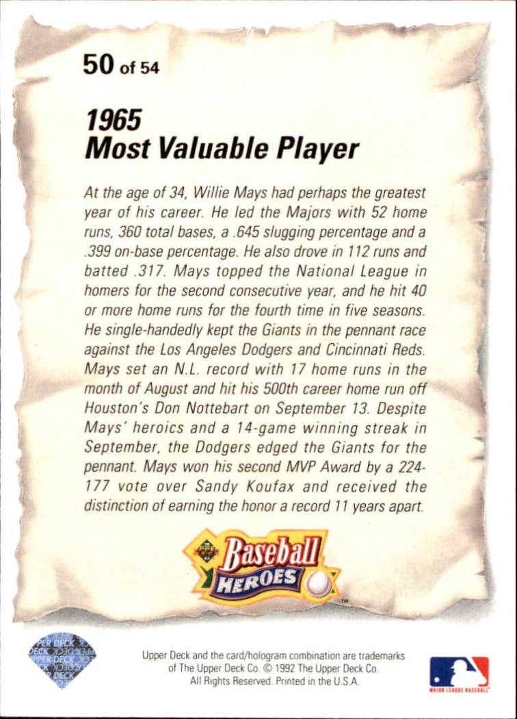 1993 Upper Deck Mays Heroes #50 1965 Most Valuable/Player back image