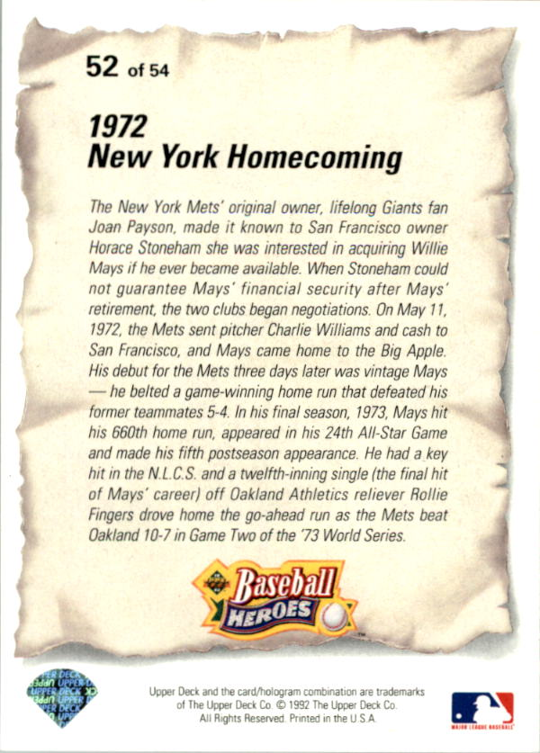 1993 Upper Deck Mays Heroes #52 1972 New York/Homecoming back image