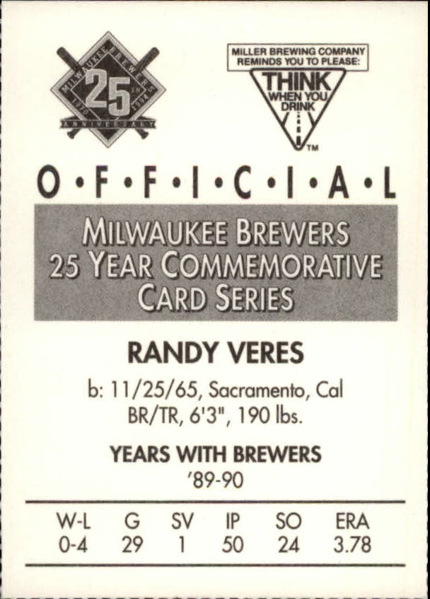 1994 Brewers Miller Brewing #186 Randy Veres