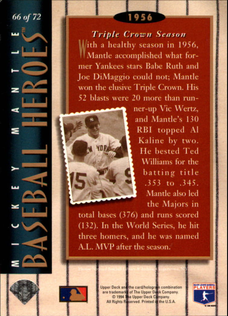 1994 Upper Deck Mantle Heroes #66 Mickey Mantle/1956 Triple Crown/Season back image