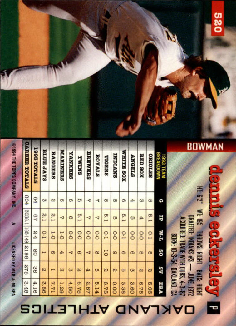 1994 Bowman #520 Dennis Eckersley back image