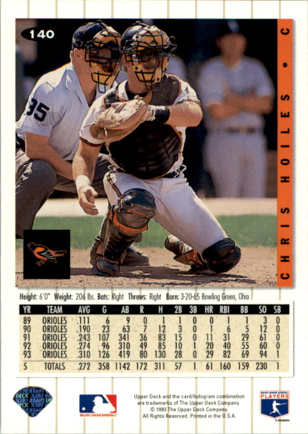 1994 Collector's Choice #140 Chris Hoiles back image