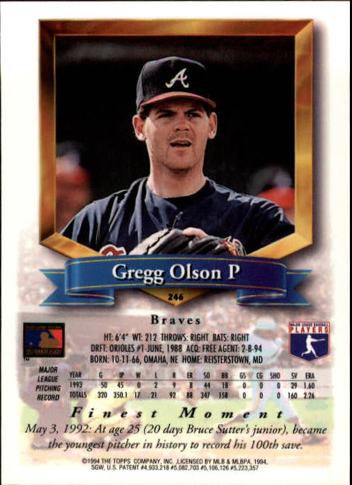 1994 Finest #246 Gregg Olson back image