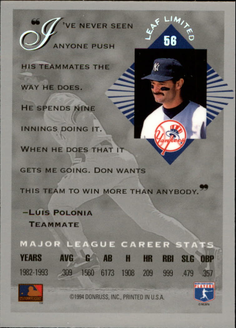 1994 Leaf Limited #56 Don Mattingly back image
