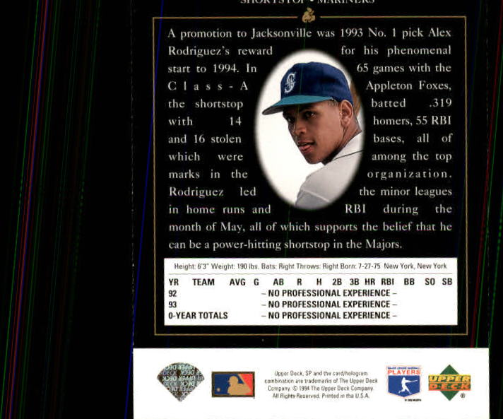 1994 SP #15 Alex Rodriguez FOIL RC back image