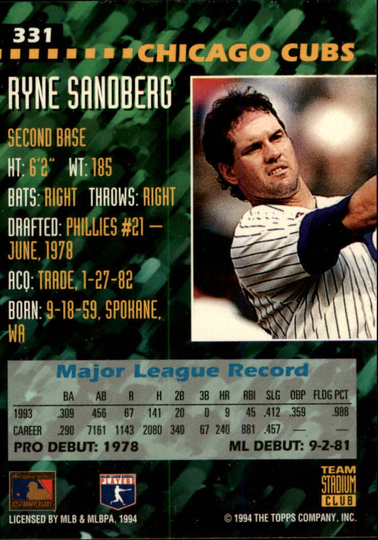 1994 Stadium Club Team #331 Ryne Sandberg back image