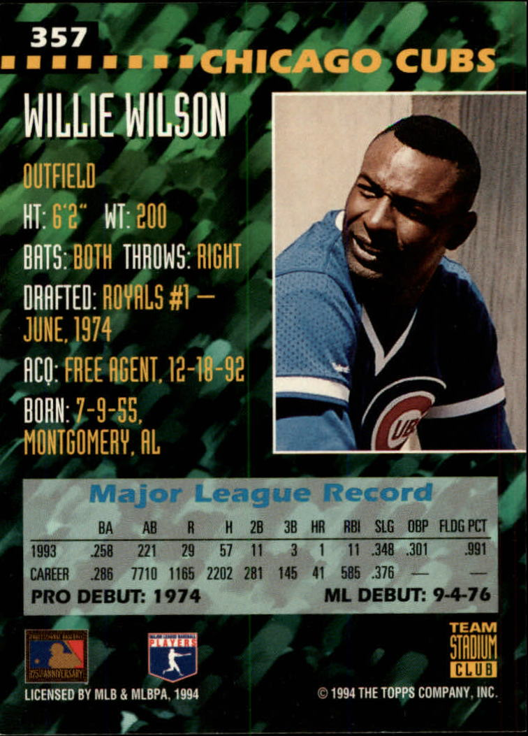 1994 Stadium Club Team #357 Willie Wilson back image