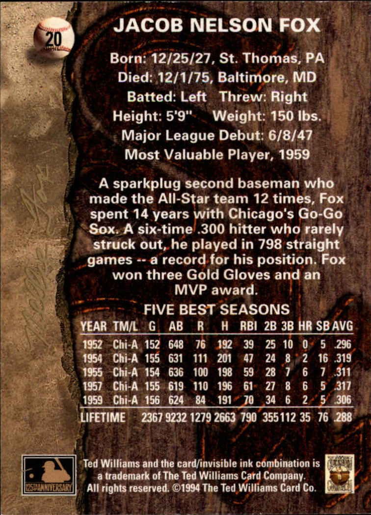 1994 Ted Williams #20 Nellie Fox back image