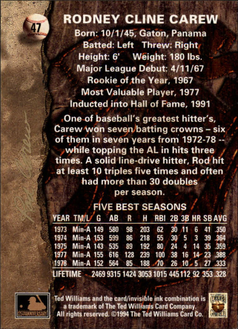 1994 Ted Williams #47 Rod Carew back image