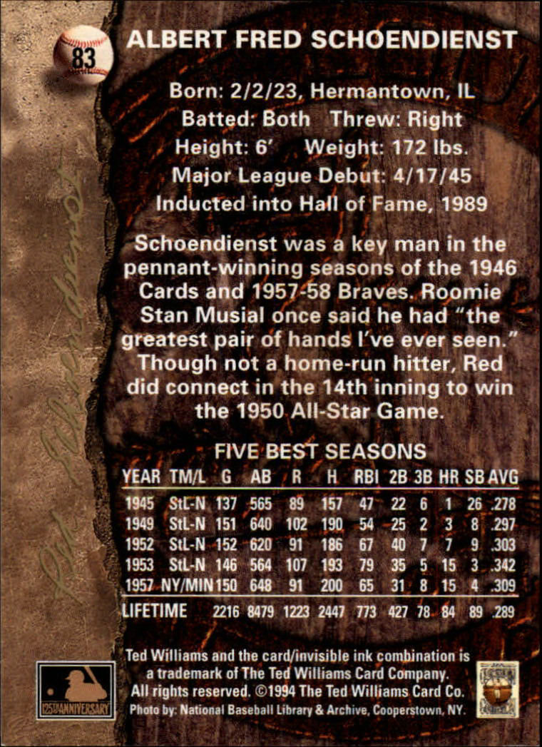 1994 Ted Williams #83 Red Schoendienst back image