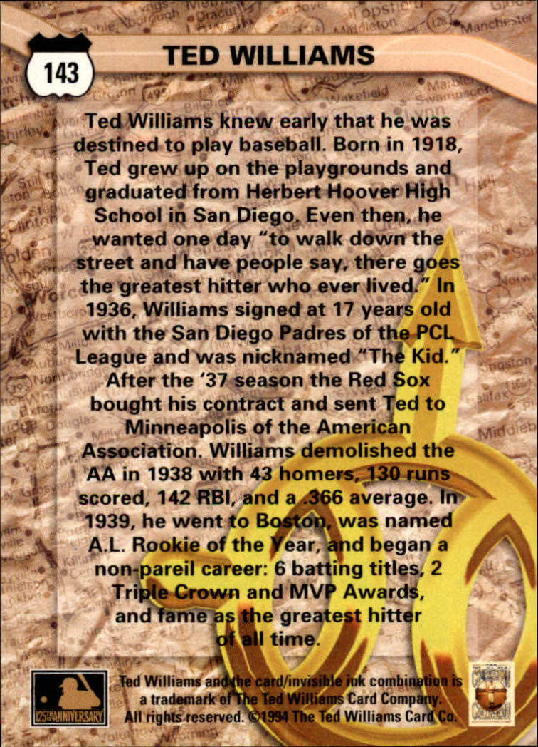 1994 Ted Williams #143 Ted Williams back image