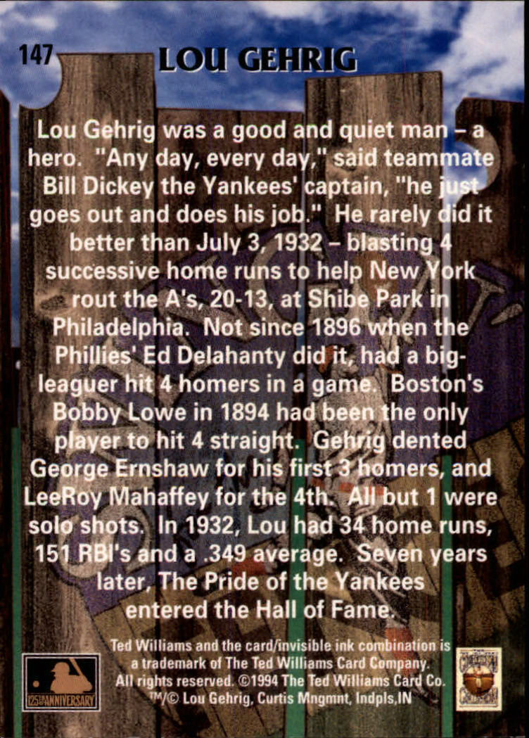 1994 Ted Williams #147 Lou Gehrig back image