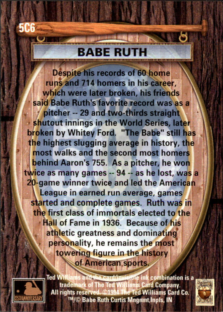 1994 Ted Williams 500 Club #6 Babe Ruth back image
