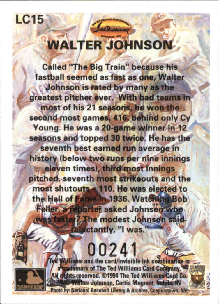 1994 Ted Williams Locklear Collection #LC15 Walter Johnson back image