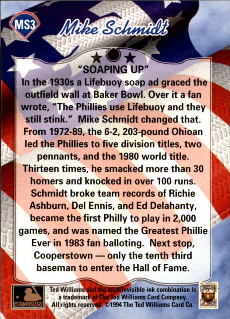 1994 Ted Williams Mike Schmidt #MS3 Mike Schmidt/Soaping Up back image
