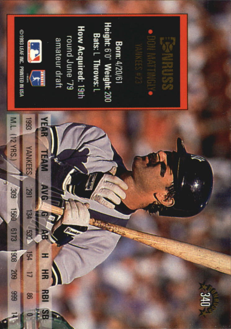 1994 Donruss #340 Don Mattingly back image