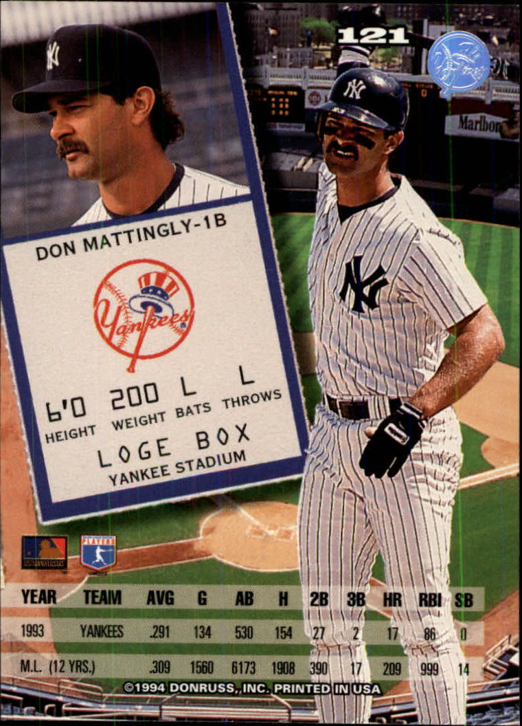 1994 Leaf #121 Don Mattingly back image