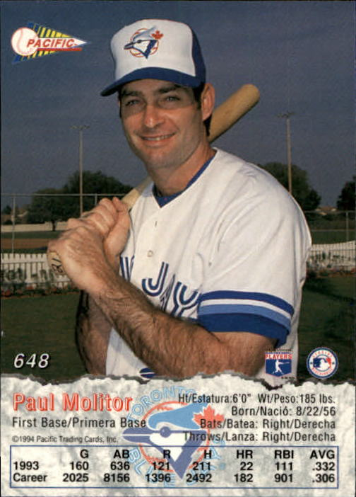 1994 Pacific #648 Paul Molitor back image