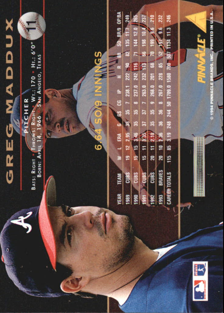1994 Pinnacle #11 Greg Maddux back image